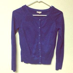 Dark blue button up sweater